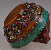 Elaborate Chinese Old Tibetan Buddhism Copper Handmade Inlaid with Artificial Ruby Beads Ornament Bowl