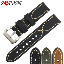 ZLIMSN Watch Accessories Genuine Leather Watch Band For Panerai Watchband Wrist Belt 20mm 22mm 24mm 26mm Black Brown Watch Strap все цены