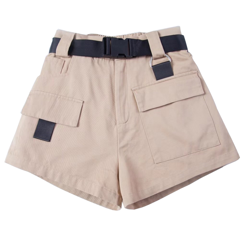 Casual American Street Style Women Solid Loose Cargo   Shorts   WIth Black Waist Sashes