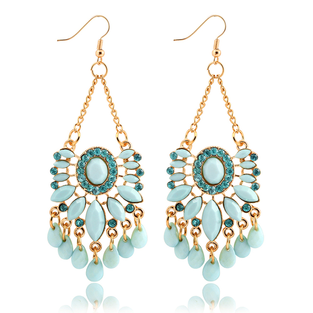 If You Fashion Sky Blue Cyan Water Drop Crystal Statement Dangle Earring Fancy Summer Style