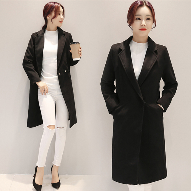 Women's Long Wool Winter Coats Slim Winter Jacket Women Wool Coat ...