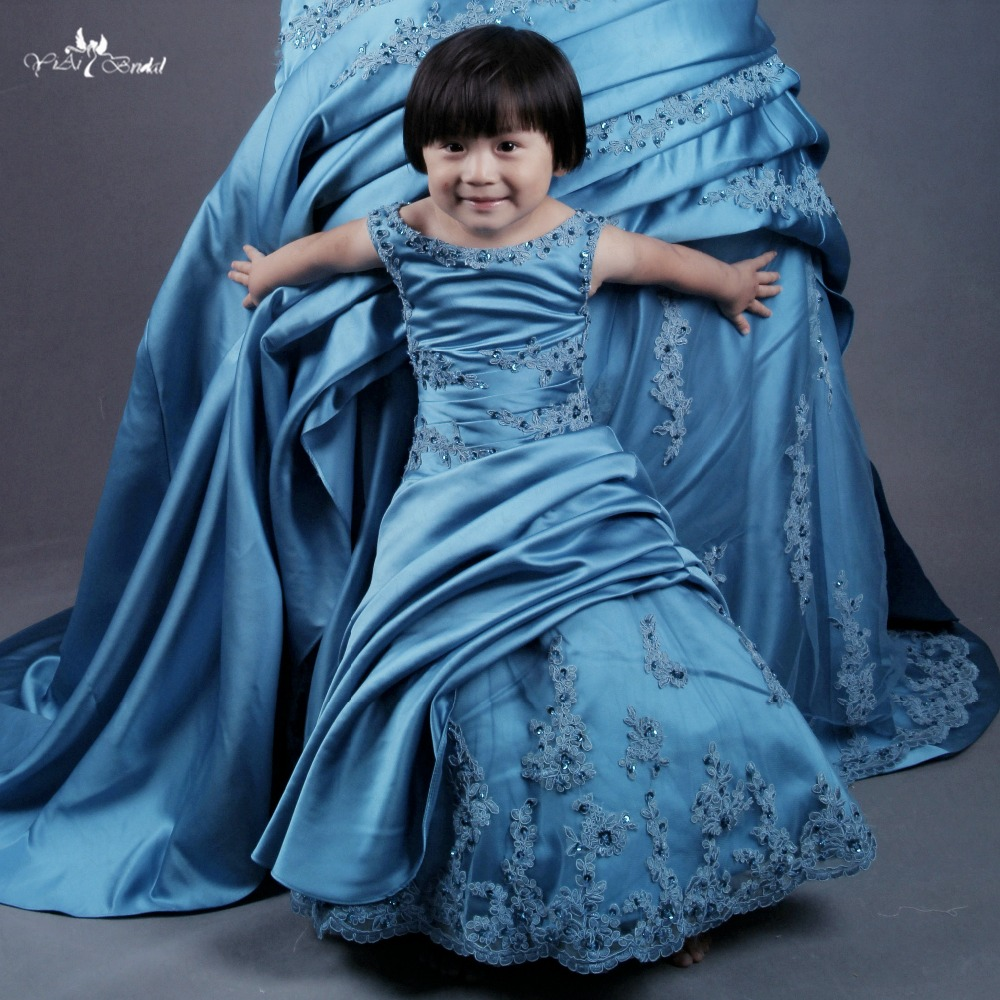 FG21 Mother Daughter Satin   Flower     Girl     Dresses   Blue