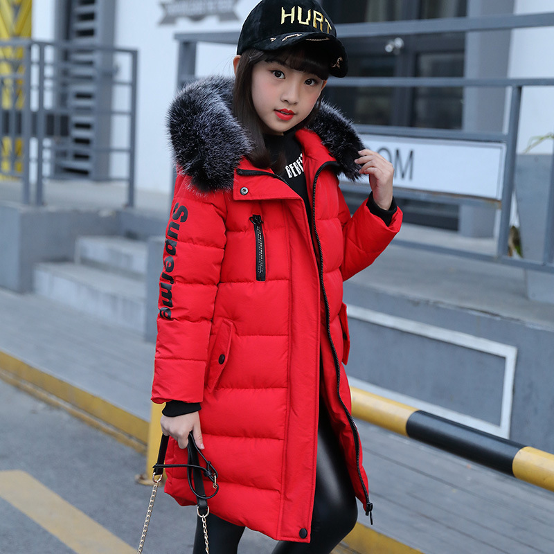 Girl's Winter Coat The Child's Coat Girls Coat In The Winter of 2017 New Children In Long Thick Fur Collar Jacket lucky panda 2016 woman winter cotton thickened slim slim down in the long coat coat of students lkb186