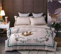 Зеленый лист постельных принадлежностей египетского Хлопковая одежда с вышивкой постельное белье пододеяльник для детей и взрослых Европ