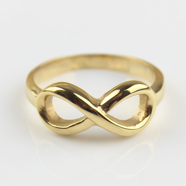 Gold Womens Stainless Steel Love Infinity Symbol Ladies Engagement