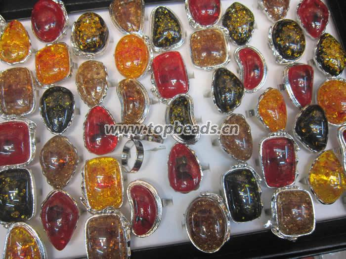 Color mixed Imitation amber Silver Rings Mix large Vintage Amber Antique Silver Retro Womens Mens Rings Wholesale Jewelry