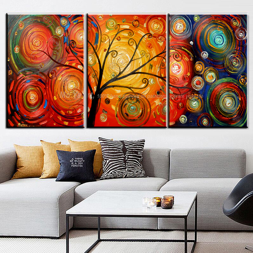 3 piece canvas art life tree painting modern wall painting ...