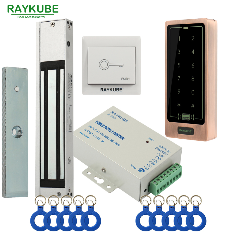 RAYKUBE Door Access Control System Kit 180KG 280KG Electric Magnetic Lock Metal Touch FRID Keypad Exit