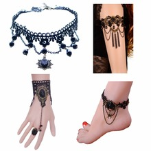 Set of 4 pcs, Gothic Style Lace necklace, Bracelet, Arm chain, Ankle Chain set Foot Ankle Bracelet Beach Wedding B348
