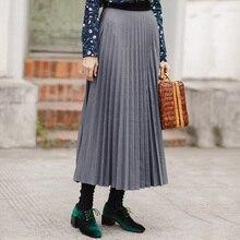 A をインマン新中期ふくらはぎプリーツすべてマッチ薄型スカート ライン帝国スカート