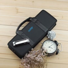 new Professinal Portable10 hole Polyphonic harmonica gig soft bag case harp cover instrument package( can load 12 harmonicas)