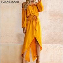 2018 Irregular Yellow Ruffles Slash Neck Off Shoulder Belted Women Split Dress Spring Long Sleeve High Waist Long Dresses недорого