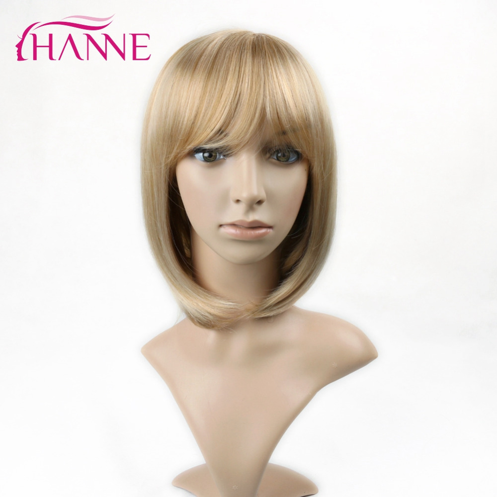 HANNE Mixed Blond and Golden Ombre Short Straight Haircut with Bang Heat Resistant Synthetic Hair Women Cosplay Or Party Bob Wig