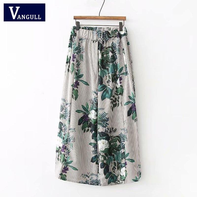 Women Vintage Floral Striped   Wide     Legs     Pants   Ladies Elegant Elastic Waist Casual Flare   Pants   Fashion Trousers mujer 2018 VANGULL