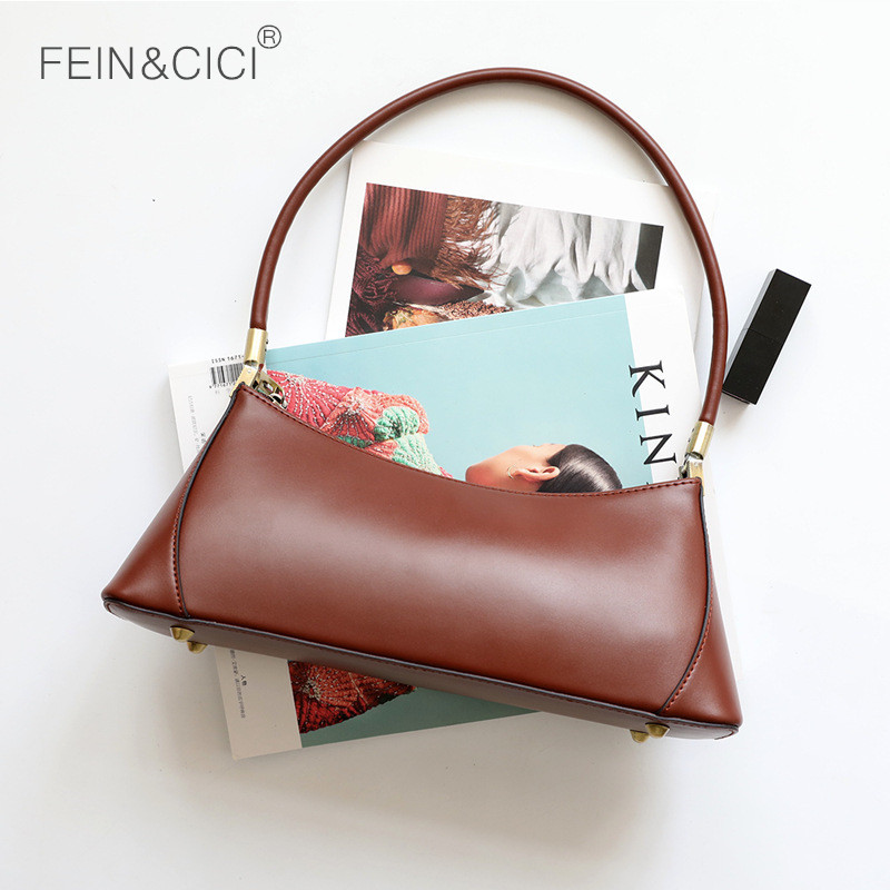 Baguette bag retro vintage small party clutch women 2019 INS girls new spring summer genuine leather shoulder bag brown black-in Shoulder Bags from Luggage & Bags    2