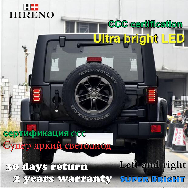 Hireno Tail Lamp for Jeep Wrangler 2007-16 Taillight Rear Lamp Parking Brake Turn Signal Lights led hireno tail lamp for toyota land cruiser lc70 fj77 78 79 rj77 1991 1996 taillight rear lamp parking brake turn signal