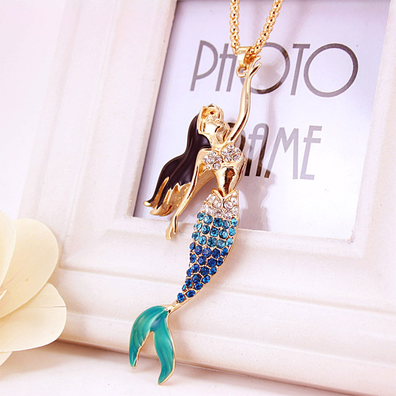 Enamel Crystal Mermaid Rhinestone Fashion Bohemian Long Chain Necklaces Pendants For Women X600