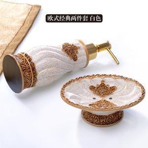 Image 4 - Bathroom Set piece European creative hand sanitizer bottle resin soap box suite bathroom to wash single items Decoration