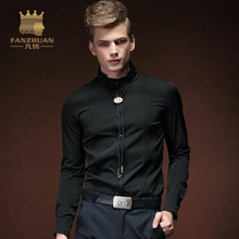 FANZHUAN 2017 new brand clothing casual shirt men long sleeve slim fit solid male shirt Black Fold Asian Size Free Shipping