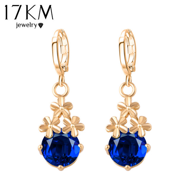 17KM 8 Colors Fashion New Crystal Flower Drop Earrings Gold Color Pendant Water