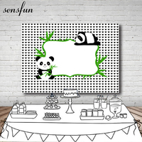 Sensfun Panda Bamboo Baby Shower Backdrop Vinyl 5x7ft Small Black Heart White Backgrounds For Photo Studio Custom Name Date