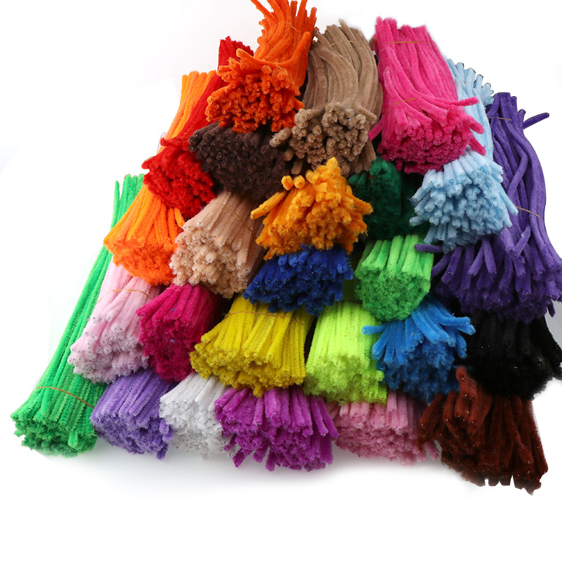 100pcs 6mm Chenille Stems Pipe Cleaners Children Kids Plush Educational Toy Crafts Colorful Pipe Cleaner Toys Handmade DIY Craft