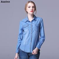 Aselnn Spring Denim Shirt Women Tops Fashion Blouses Shirts Casual Long Sleeve Blouse Camisa Feminina Chemise