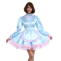 Prissy Sissy Girl Maid babyblue Lockable Dress Crossdress Cosplay Costume
