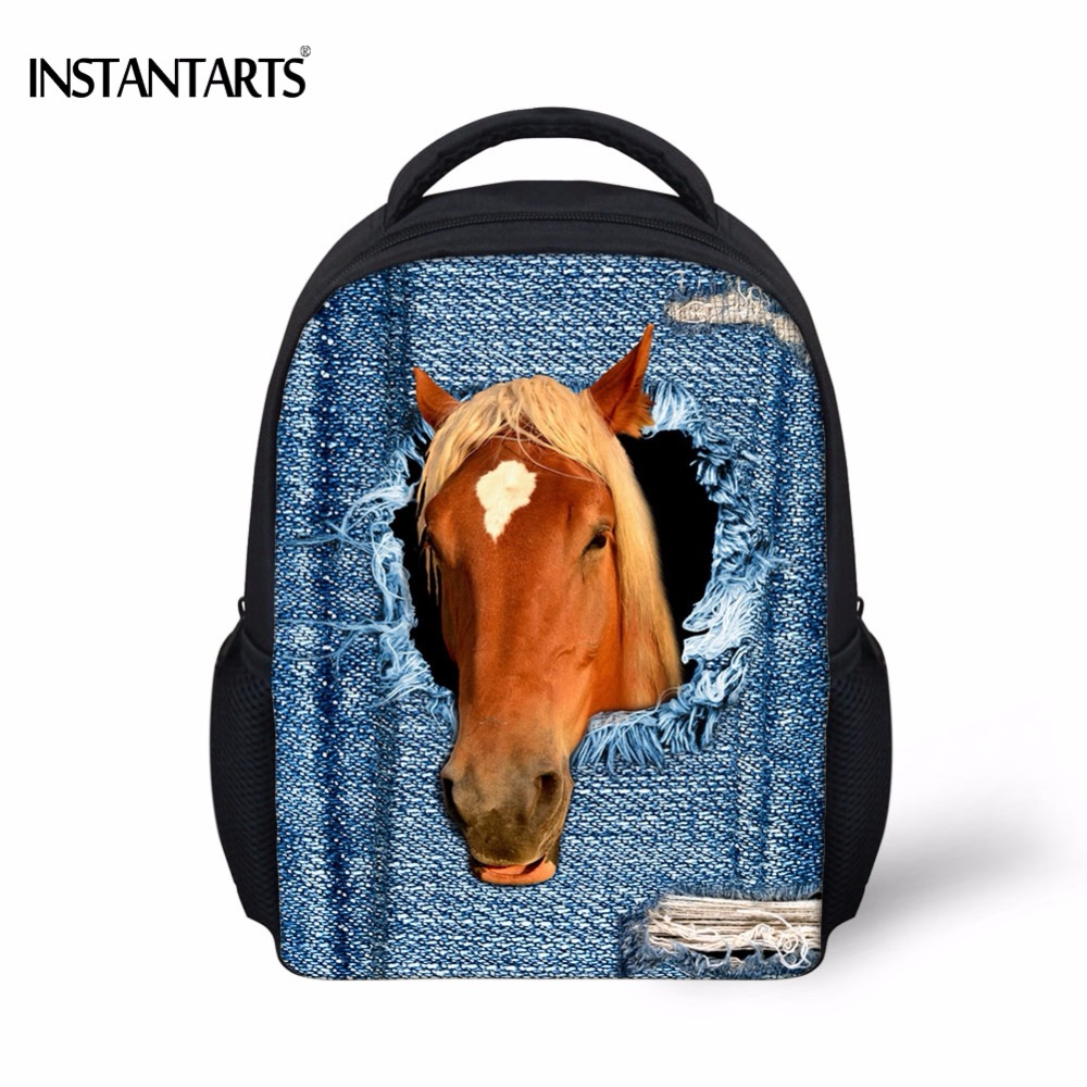 INSTANTARTS Cool Fake Denim Pocket Crazy Horse Print Boys Girls School Bags Kindergarten Students Mini Schoolbags Kids Backpacks