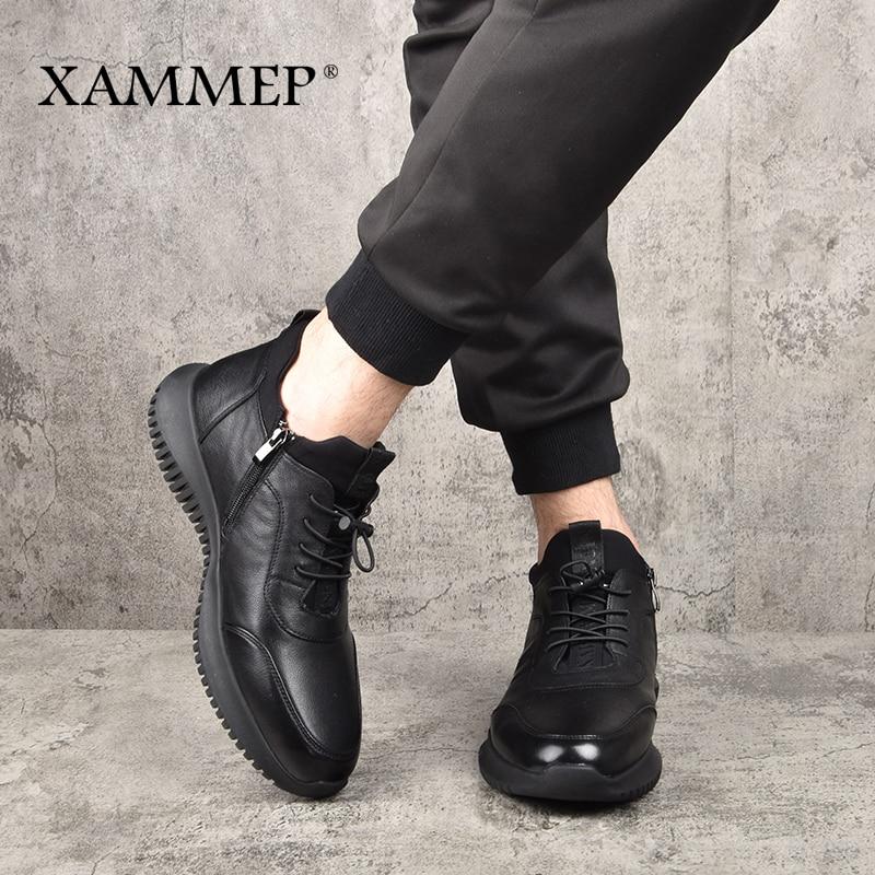 Tamanho Inverno De Couro Plush Da Para Genuíno Casuais Marca Plus Botas Big Flats Sapatos Quente Xammep Homens Black Os Calçados Sapatilha UXqx1wf5pc