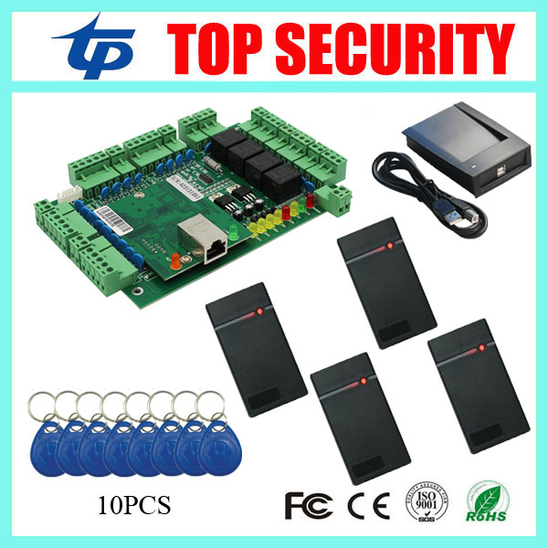 RFID card access control system TCP/IP card time attendance and access control weigand card reader 4 doors access controller купить