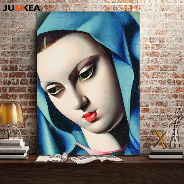 The Beauty Blue Head Red Lips Lady By Tamara De Lempicka