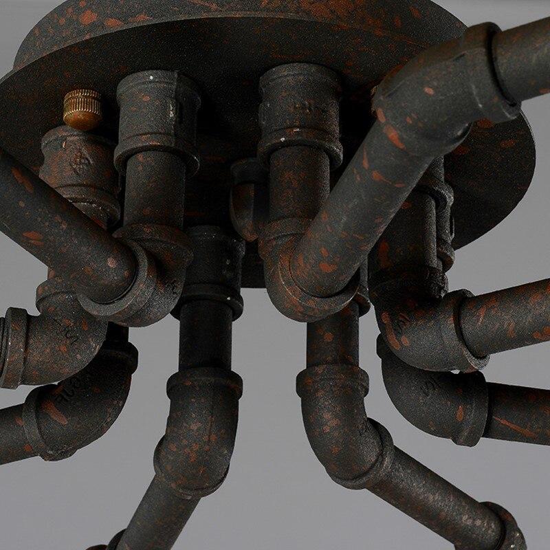 agua rustico aranha lampada do teto loft 05
