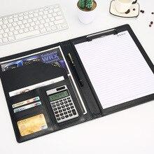 وثيقة مجلد ملفات أكياس A4 بولي Leather الجلود آلة حاسبة متعددة الوظائف اللوازم المكتبية المنظم مدير منصات حقيبة بادفوليو هدية