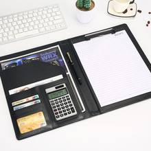 문서 파일 폴더 가방 A4 PU 가죽 계산기 다기능 사무 용품 주최자 관리자 패드 서류 가방 Padfolio 선물