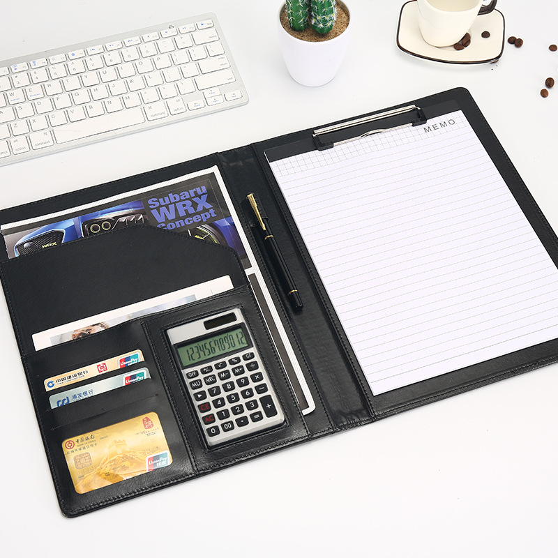 Document File Folder Bags A4 PU Leather Calculator Multifunction Office Supplies Organizer Manager Pads Briefcase Padfolio Gift