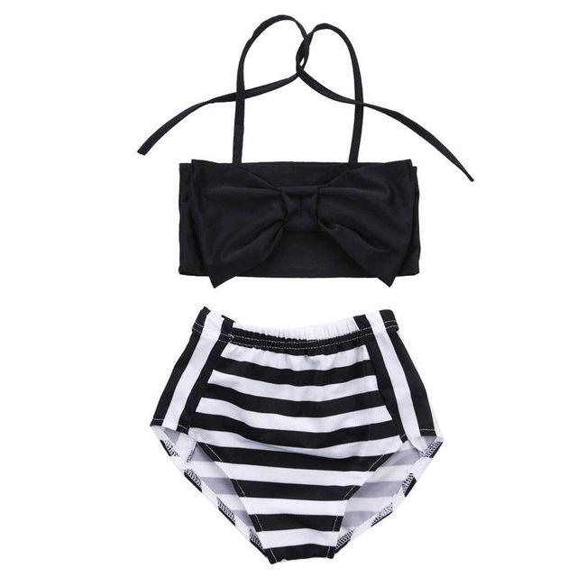 b2927415636 Baby Kids Girls Bikini Set Black Striped Halter Bow Swimwear Striped  Swimming Bathing Suit Swimsuit Beachwear Two-Piece Suits