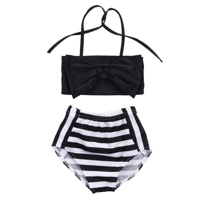 7402fdeff797b8 Baby Kids Meisjes Bikini Set Zwart Gestreepte Halter Boog Badmode Gestreepte  Zwemmen Badpak Badpak Beachwear Tweedelige