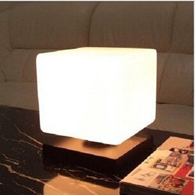 Современный краткое ледяной куб стекло стол из цельного дерева свет регулируемый светодиодный E27 настольная лампа прикроватная лампа гост...