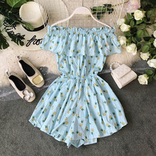 NiceMix 2019 summer new printed women jumpsuits and rompers floral ruffles short playsuits slash neck elegant suits