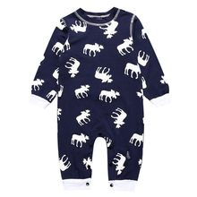 Baby Rompers One-Pieces Newborn Boys Girls Reindeer Print Jumpsuit Long Sleeve Infant Casual Romper(China)