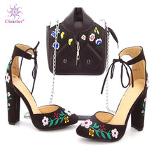 Rhinestone Shoes High-Heels Matching-Bag-Set Clearluv Wedding Italian Elegant Ladie And