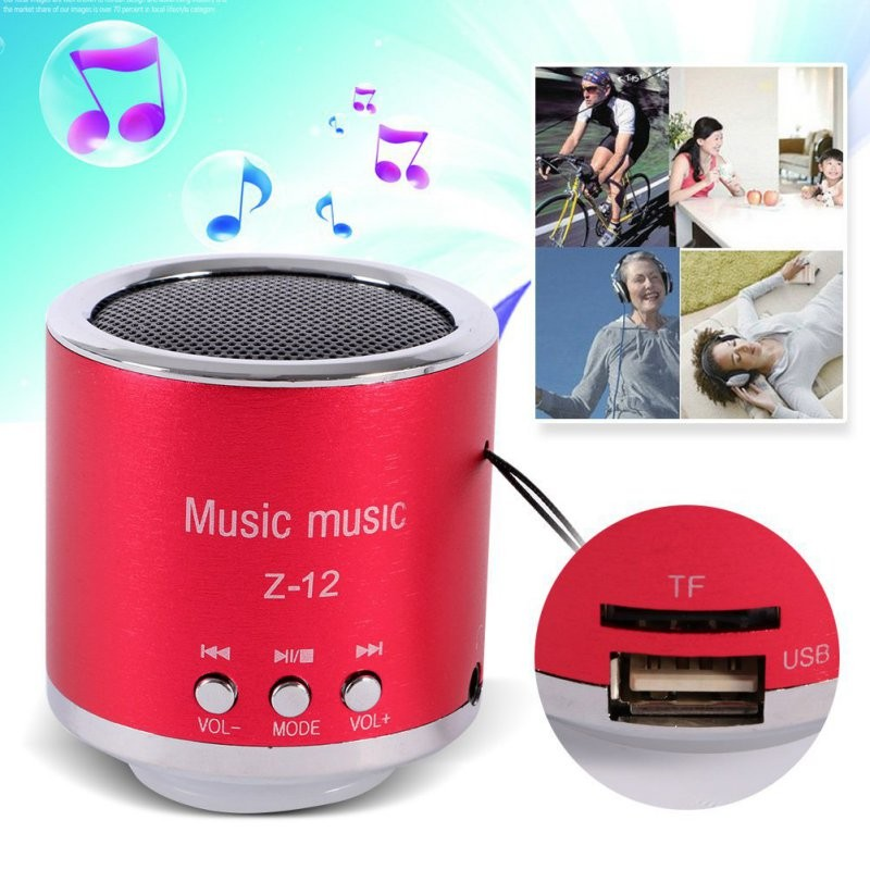 все цены на M&J New FM Radio Z12 Portable Speaker USB Micro SD TF Card Mp3 Mini Speaker Computer subwoofer Music box portable speaker онлайн