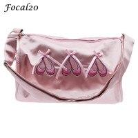 Focal20 Waterproof Ballet Shoes Embroidery Bowknot Girls Ballet Bag Barrel Shape Zipper Pink Sweet Shoulder Bag