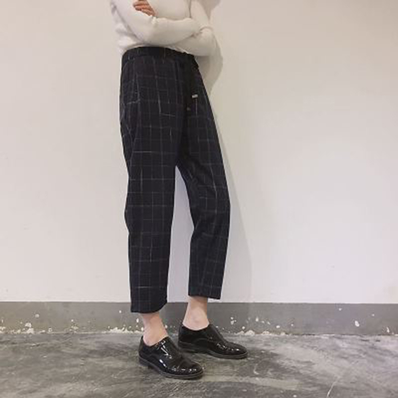 Casual Plaid Pants Women Autumn Elegant Loose Elastic Waist Slim Trousers Harajuku Ladies Vintage Ankle-Length Harem Capris New