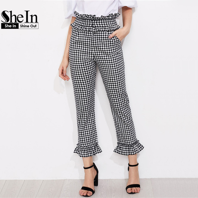 SheIn Summer Pants for Women Black and White Plaid High Waist Elegant Straight Trousers Gingham Frill Trim Pants
