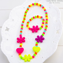 Love flowers children summer style necklace bracelet baby sweet necklace hair accessories jewelry wholesale