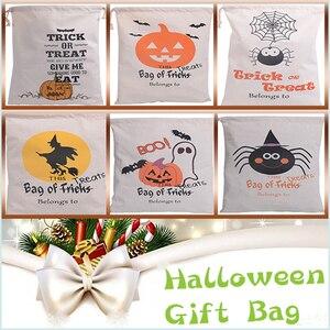 Image 1 - Sıcak Satış Pamuk Tuval El Çantası 30 adet/grup Cadılar Bayramı Çuval Cadılar Bayramı Hediyeler Çanta Şeker Torbaları 6 Stilleri Cadılar Bayramı Çuval çocuk