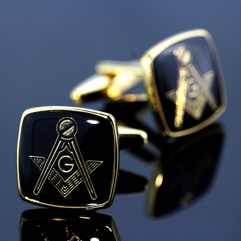 MeMolissa Vintage Masonic Cufflinks Classic Square Cufflinks Gold With Black Personality Men's Shirt Cufflinks Gifts For Men