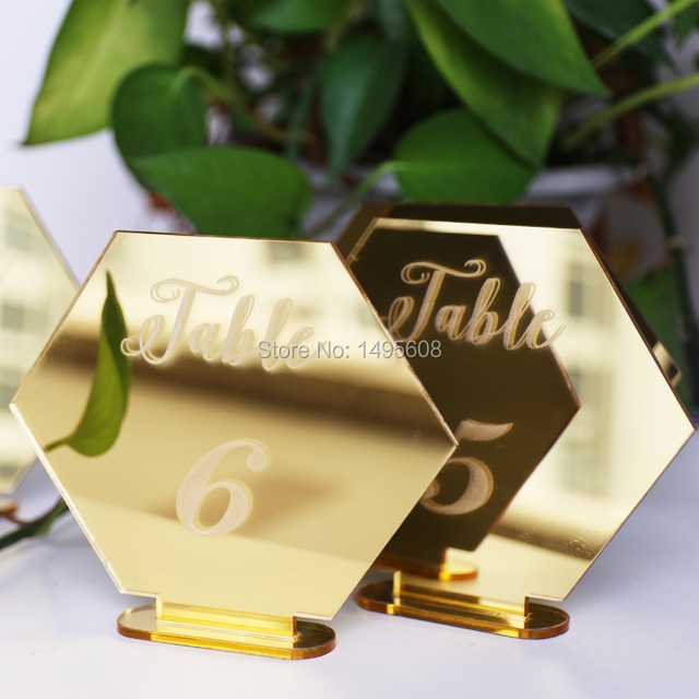 Hexagon Table Number Signs For Wedding Party Decor Silver Or Gold Acrylic Roman